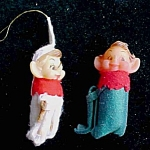 Japan Elf Pixie Figural Christmas Ornament Set Of 2