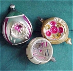 Set Of 3 Christmas Holdiay Indents Glass Ornaments