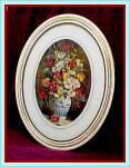 Pretty 1940s Framed Flowers In Vase