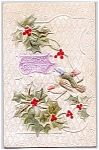 Embossed Birds, Holly - Christmas Greeting