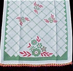 Red Green Flower And Stripe Kitchen Linen Tea Towel