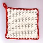 Red And White Crochet Kitchen Linen Hot Pad Pot Holder