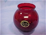 Royal Ruby Red Ivy Ball Vase /w Label