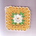 Yellow Flower Crochet Kitchen Linen Hot Pad Pot Holder