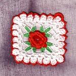 White W Red Flower Crochet Kitchen Linen Hot Pad Pot Holder