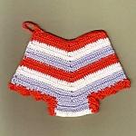Red White Blue Britches Crochet Linen Hot Pad Pot Holder