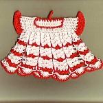 Red And White Dress Crochet Kitchen Linen Hot Pad Pot Holder