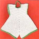 Green And White Dress Crochet Linen Hot Pad Pot Holder