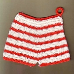 Red And White Britches Crochet Linen Hot Pad Pot Holder