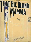 That Big Blonde Mamma - 1923 Starmer Cover Art
