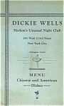 Dickie Wells Harlem Unusual Night Club Menu