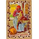 Black Americana 1909 Thanksgiving Postcard