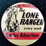 Lone Ranger Sunday Advertiser Character Pin Back Button