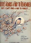 There's Always A Way To Remember - 1927 Sheet Music