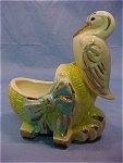 American Bisque Stork & Basinette Gold Decor