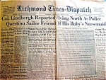 Lindbergh Kidnapping, Original Newspaper March 5, 1932