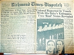 Lindbergh Kidnapping, March 8, 1932 Newspaper