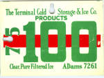 Terminal Cold Storage Ice Purchase Sign
