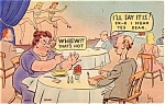 Comic Postcard- Couple Eating