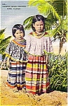 Seminole Indian Children Miami Florida Souvenir Post Card