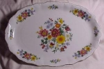 Bright Bavarian China Flowered Platter