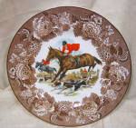 Horse And Hounds English Porcelain Plate