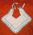 Vintage Hand Crocheted White And Green Baby Bib