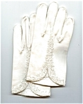 Hand Beaded White Cotton Gloves - Size 7 1/2