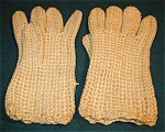 Hand Knitted Beige Acrylic Gloves