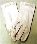 Lily Dache Embroidered Beige Cotton Gloves