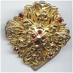 Jeweled Golden Filigree Scarf Clip