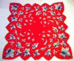 Bright Red Cotton Handkerchief With Gray Leaves