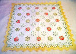 Scalloped Edge Large Yellow Floral Handkerchief