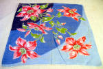 Fantastic Mint, Pink Lilly On Blue Vintage Handkerchief