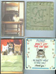 Grouping Of 4 Cat Themed Plaques