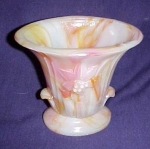 Orange And White Daffodil Slag Glass Vase