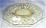 Wheel Cut Yellow Glass Console Bowl