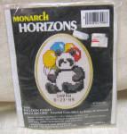 Counted X Stitch Balloon Panda Birth Record Kit