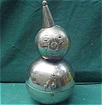 Rolly Poly Silver Childrens Clown Bank