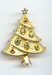 Golden Metal Rhinestone Christmas Tree Brooch