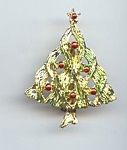 Painted Golden Metal Christmas Tree Brooch