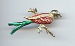 Unsigned Rhinestone Christmas Bird Brooch