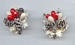 1950's Pine Cone And Berry Clip Earrings