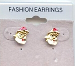 Tiny Santa Head Pierced Earrings