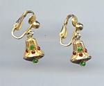 Petite Rhinestone Bell Christmas Earrings