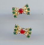 Christmas Colors - Rhinestone Bowtie Pierced Earrings
