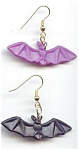 Black And Purple Plastic Bat Pierced Earrings