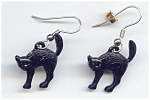 Hissing Metal Black Cat Pierced Earings