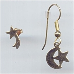 Golden Metal Moon And Stars Pierced Earrings