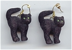 Fuzzy Black Cat Pierced Earrings